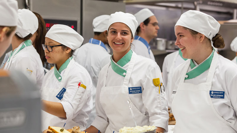 JWU Baking & Pastry students in class