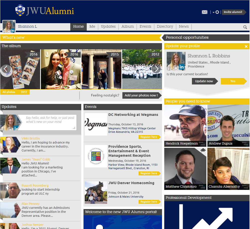 alumni portal screen shot
